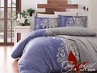 Евро постельное белье ранфорс R7427 blue ТM TAG