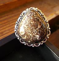Красивое кольцо с агатом-турителлой, размер 18,8