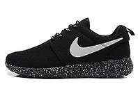 Кроссовки Nike Roshe Run 1 найки рош ран черные+черная подошва с точечками унисекс