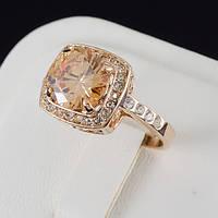 Изящное кольцо с кристаллами Swarovski, покрытое золотом 0669 16 Янтарный