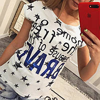 Женская стильная белая футболка с принтами (2 цвета)