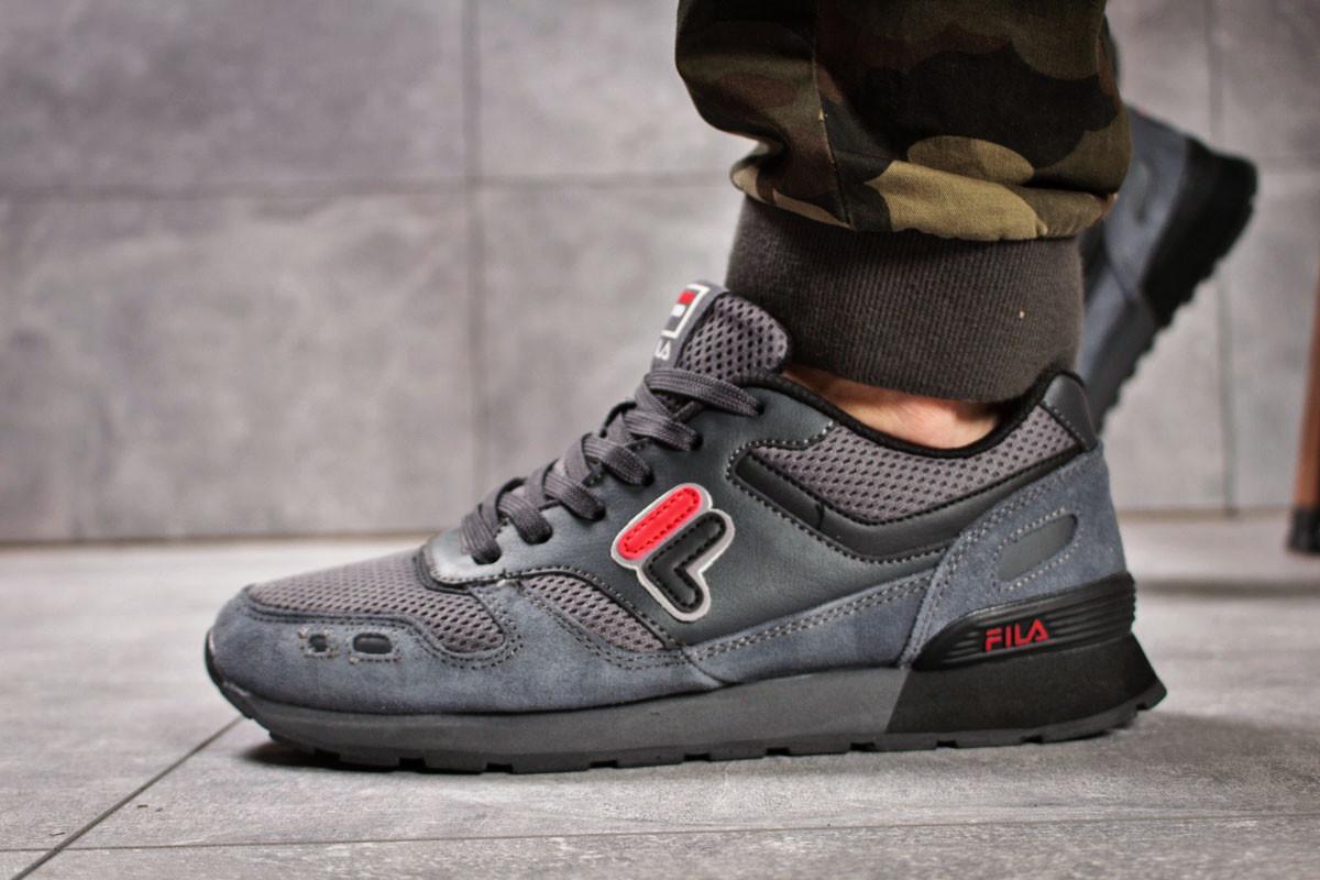 bfde9566 Мужские кроссовки в стиле Fila, текстиль, замша, пена, серые ...