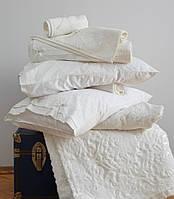Набор элитное постельное бельё + покрывало Karaca Home сатин с шелком Mine крем