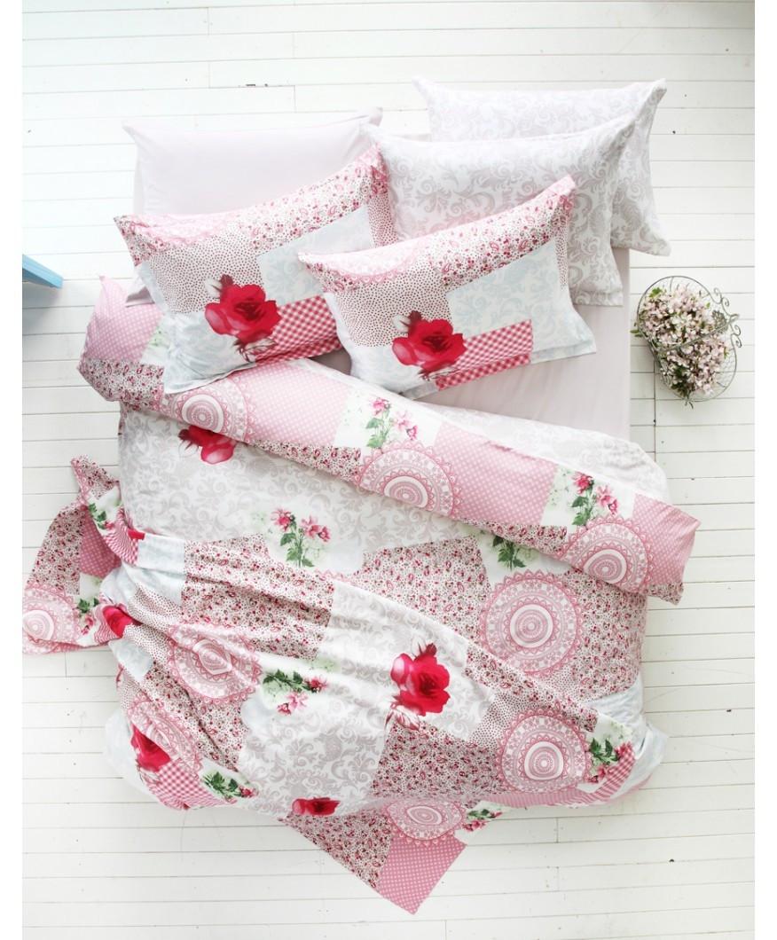 Постельное бельё Karaca Home - Piaf розовое ранфорс полуторное