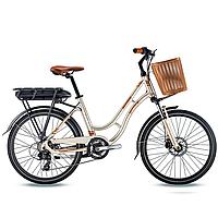 Женский электро велосипед Trinx SELLA2.0 шампанский-золотой 24 колеса х 17 рама