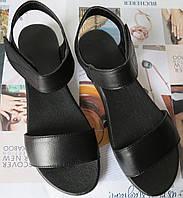 Mario! Летние женские сандалии натуральная черная кожа без каблука на липучке