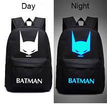 Большой тканевый унисекс рюкзак со светящимся/фосфорным рисунком супергероев, фото 3