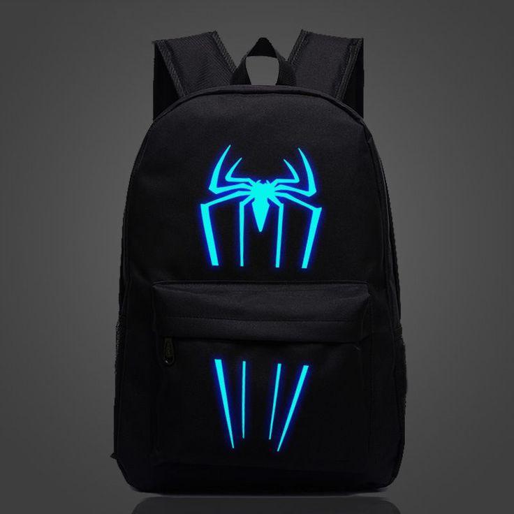 Большой тканевый унисекс рюкзак со светящимся/фосфорным рисунком супергероев