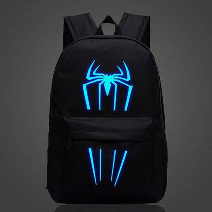 Большой тканевый унисекс рюкзак со светящимся/фосфорным рисунком супергероев, фото 2