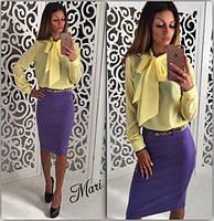 Стильная блузка с завязками. Однотонная, желтая