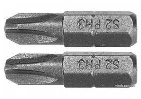 Насадка отверточная YATO Phillips PH3 x 25 мм HEX 1/4 AISI S2 2 шт