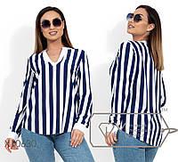 Блуза из софта с длинными рукавами на патиках и щелевым вырезом на груди X10630