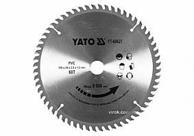 Диск пильный по ПВХ YATO 185 х 20 x 2.5 x 1.5 мм 60 зубцов R.P.M до 9000 1/мин