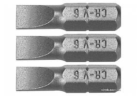 Насадка отверточная STHOR шлиц SL6 x 25 мм HEX 1/4 Cr-V 3 шт