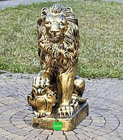 Садовая фигура Лев с правым щитом большой