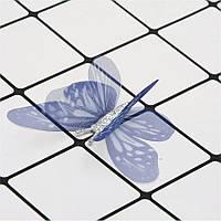"""Аппликация """"Бабочка шифон двухслойная"""", 6 см, 20 шт/уп., темно-синяя"""