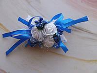 Свадебная бутоньерка на руку цвета электрик