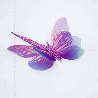 """Аппликация """"Бабочка шифон двухслойная"""", 6 см, 20 шт/уп., фиолет-розовый-голубой  + розовый"""