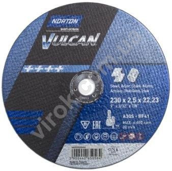 Диск отрезной по металлу и нержавеющей стали NORTON VULCAN Ø=230х22.2 мм t=2.5 мм