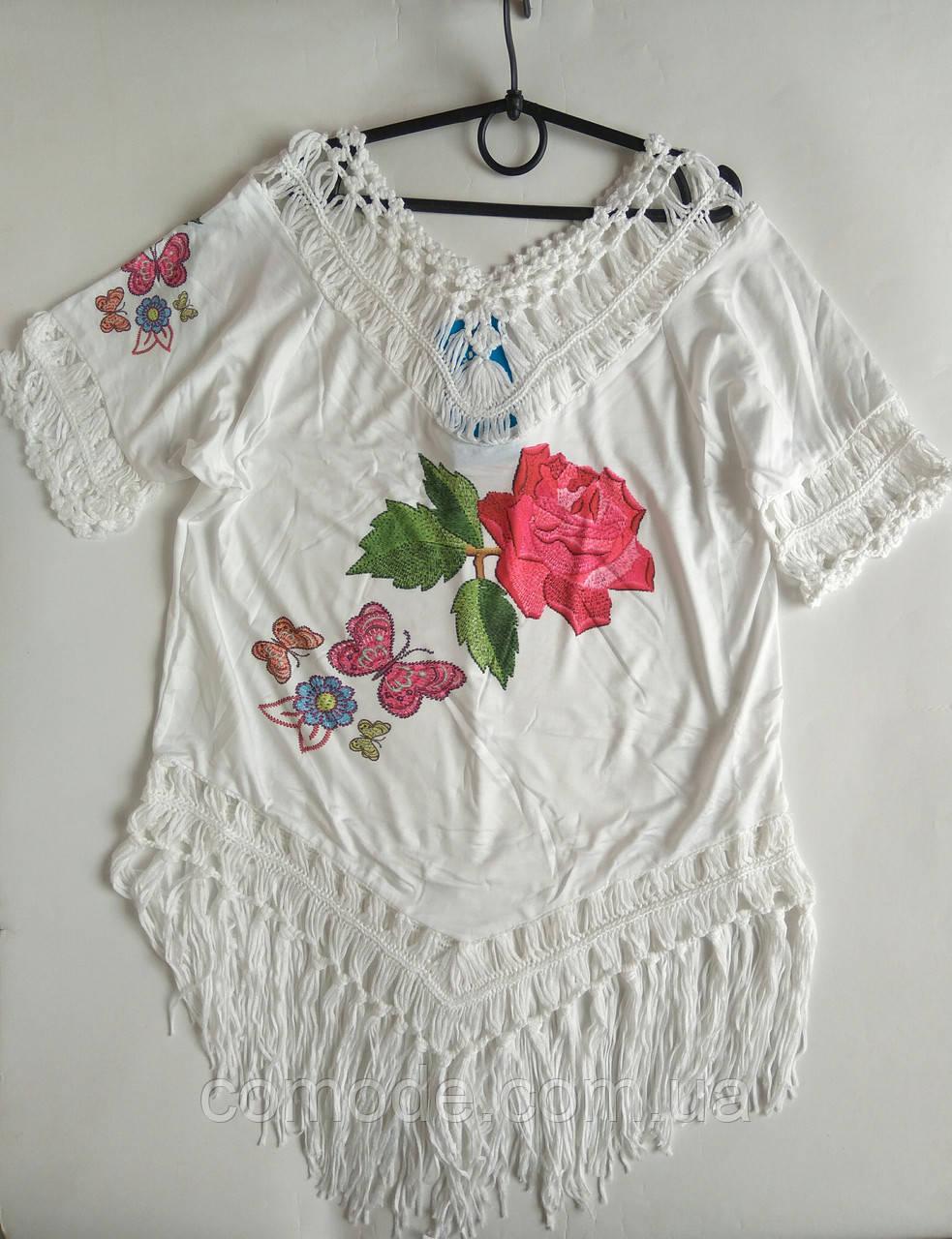 Туника пляжная белая детская роза