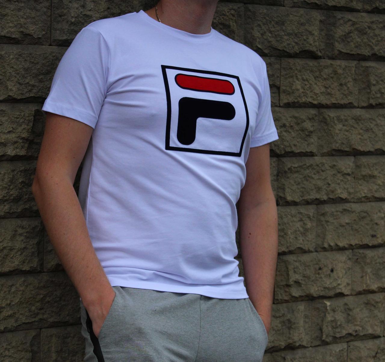 Мужская котоновая белая футболка Fila (Реплика)