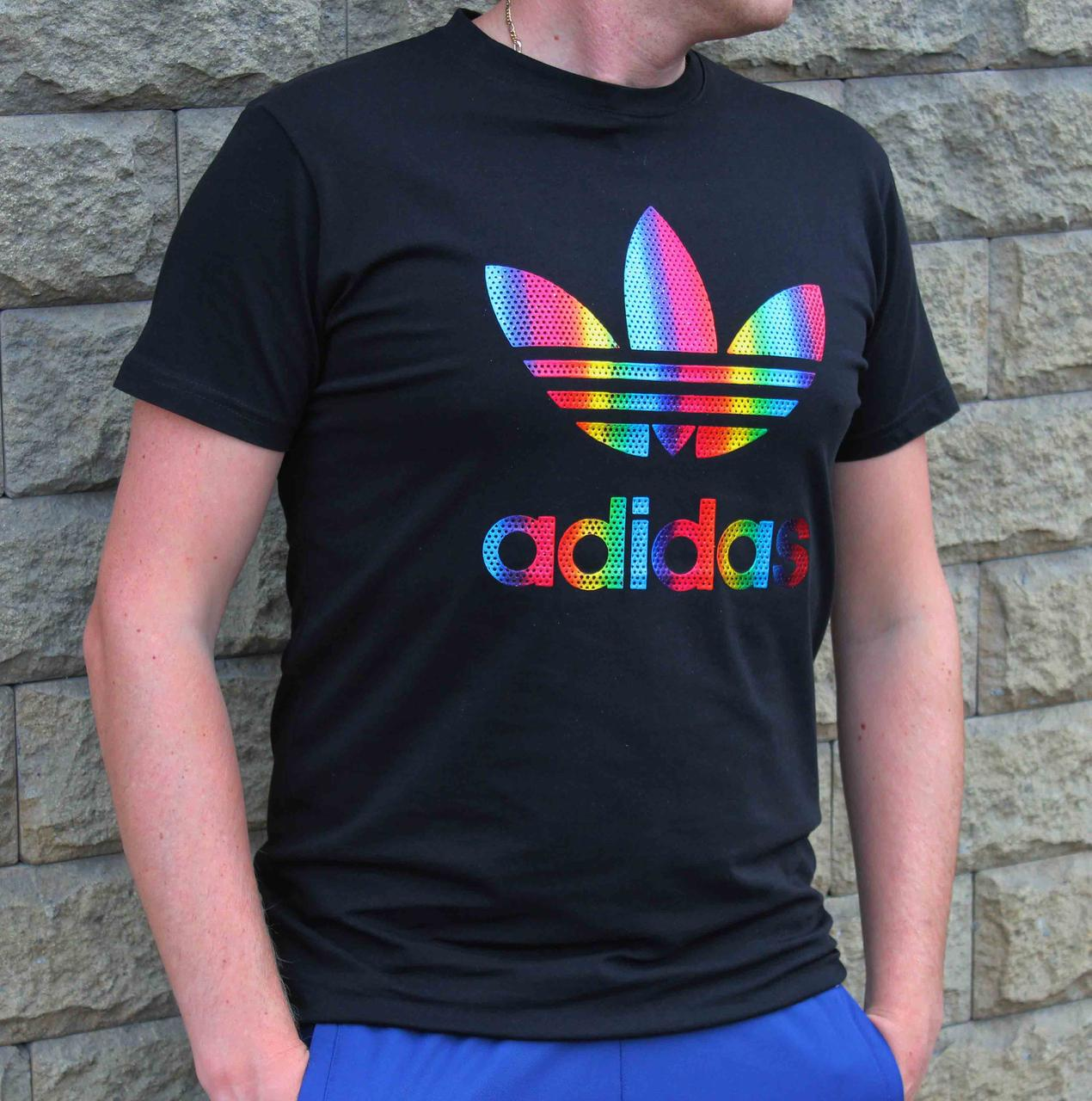 Мужская черная хлопковая футболка Adidas с ярким принтом (Реплика)