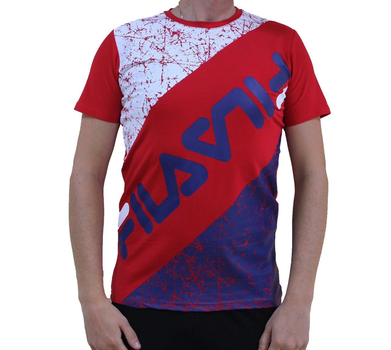 Мужская красная котоновая футболка Fila (Реплика)
