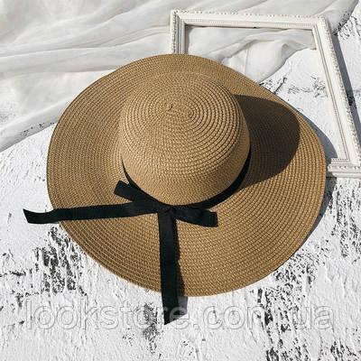 Шляпа женская летняя с широкими полями и лентой кофе с молоком