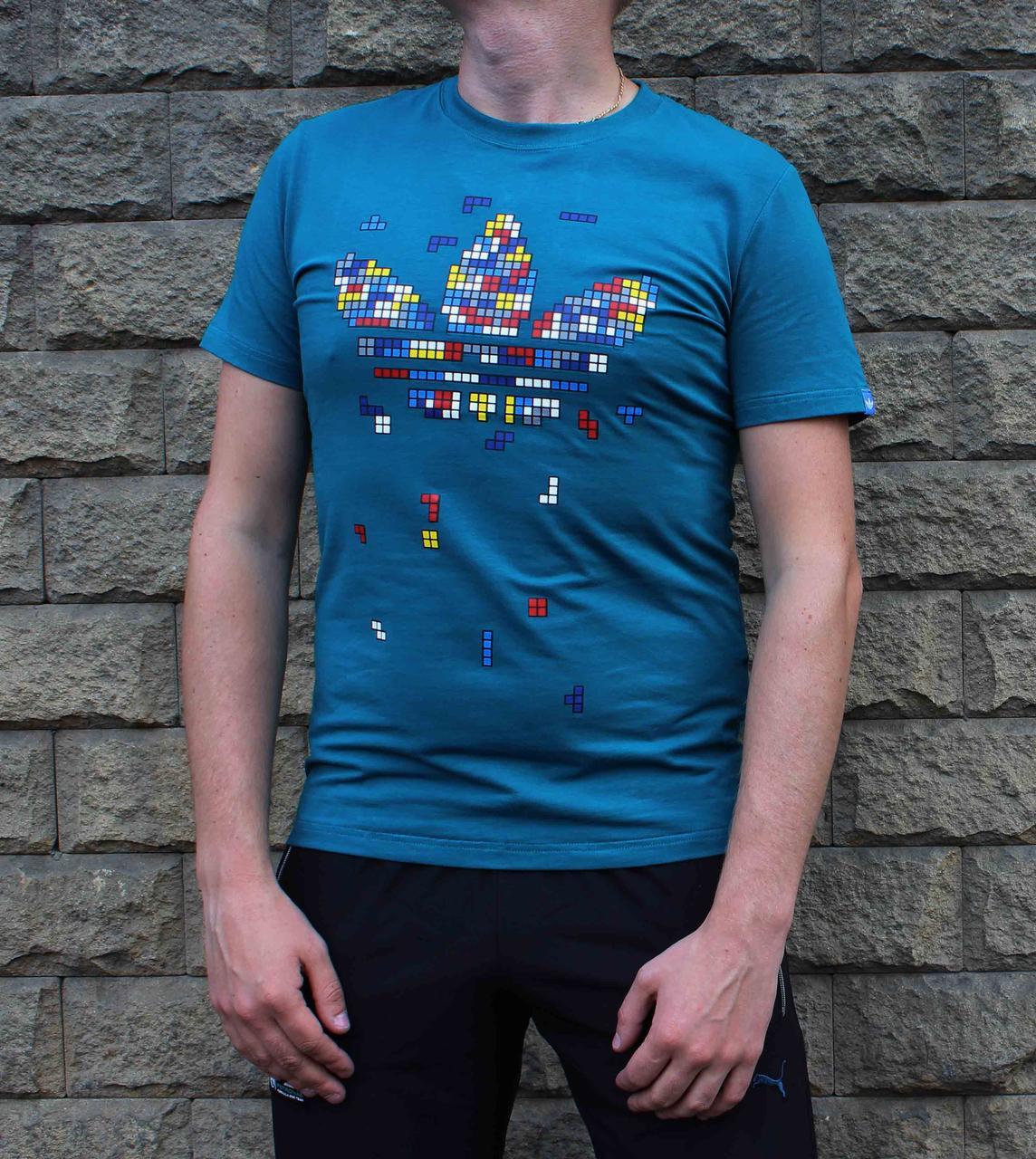 Мужская яркая хлопковая футболка Adidas с ярким принтом (Реплика)