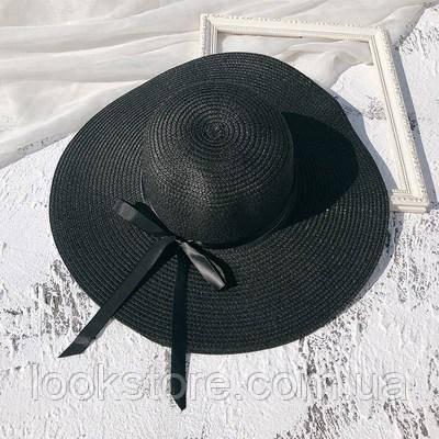 Капелюх жіночий річна з широкими полями і стрічкою чорна