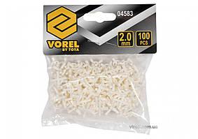 Хрестики дистанційні для плитки багаторазові VOREL тип U: товщина - 2 мм, уп. 100 шт.