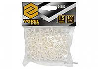 Хрестики дистанційні для плитки багаторазові VOREL тип U: товщина - 1,5 мм, уп. 100 шт.