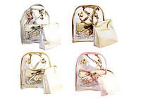Рюкзак подростковый для девочек из прозрачного ПВХ 24*25*14,5 см с косметичкой 20*20*8 Kidis