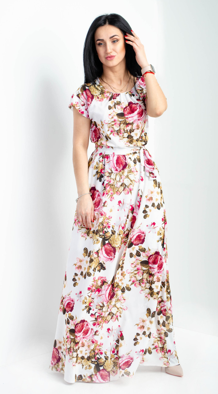 bcf6c93df16 Цветочное женское платье макси. Размеры 44-46