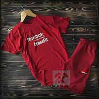 Летний мужской спортивный костюм шорты+футболка Reebok красного цвета (Рибок)