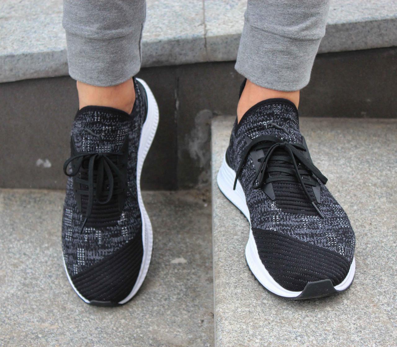 Оригинальные летние чёрные кроссовки Puma AVID evoKNIT Mosaic 366601 02