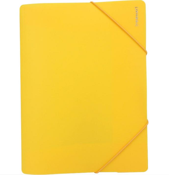Папка пластиковая А4 на резинках Format, желтая
