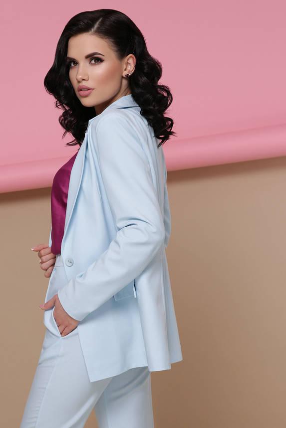 Костюм женский брючный классический голубой летний, фото 2