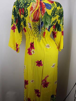 Халат пляжный желтый Цветы на наши 48-54 размеры., фото 2