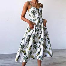 Платье сарафан миди на пуговицах ананасы (белое)