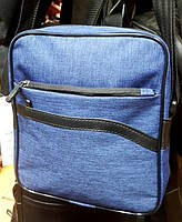 Мужская текстильная барсетка средняя с двумя передними карманами синяя 19*22см