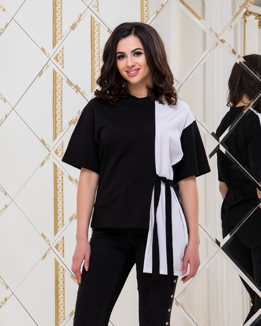 """Комбинированная женская футболка """"Пекин"""" с поясом"""