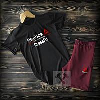 Шорты и футболка Reebok Black Bordo (Мужской спортивный костюм Рибок черно-бордовый весна/лето)