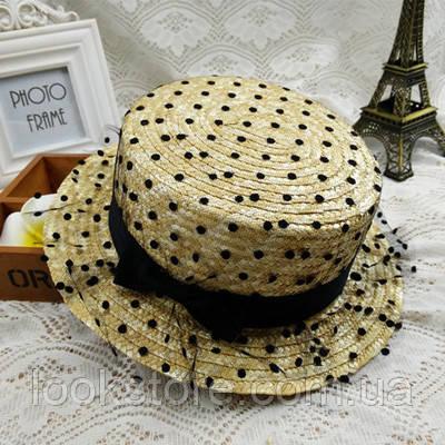 Летняя женская соломенная шляпа канотье с небольшими полями и сеткой
