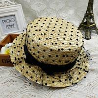 Летняя женская соломенная шляпа канотье с небольшими полями и сеткой, фото 1