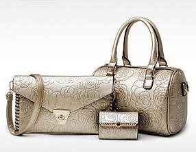 Элегантный набор женских сумок на 3 предмета, сумка клатч визитница