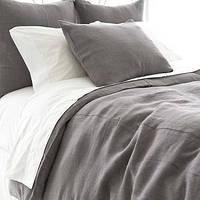 Комплект постельного белья евро лен 220 х 200 (серо-белый)