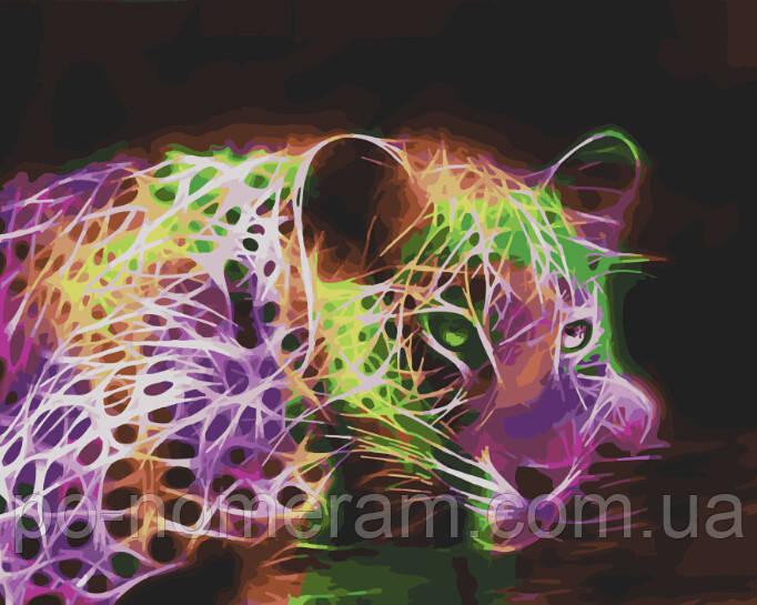 Рисунок по цифрам Неоновый леопард (BK-GX28323) 40 х 50 см (Без коробки)