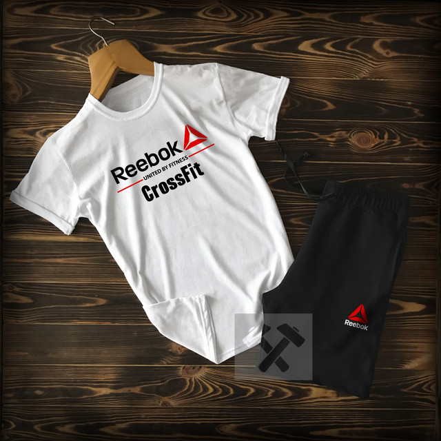 Шорты+футболка Рибок черно-белого цвета фото