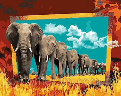 Картина по номерам Парад слонов (BRM26566) 40 х 50 см